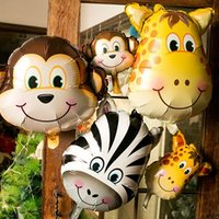 hayvanat bahçesi partisi toptan satış-Safari Yaban Hayatı Hayvan Kaplan Aslan Maymun Zebra Geyik Zürafa İnek Hava Balon Çocuk Hediye Doğum Günü Partisi Hayvan Zoo Tema Kaynağı