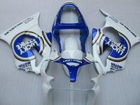 zx6r plásticos azul venda por atacado-kit de carenagem plástico ABS para Kawasaki Ninja ZX6R 2000 2001 2002 carenagens azul branco conjunto ZX6R 00 01 02 OT18