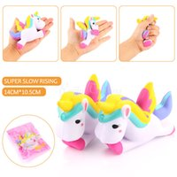 Wholesale Plastic Packaging Straps - New Kawaii Unicorn Squishy Slow Rising Retail Packaging Cute Phone Straps Pendant Bread Cake Cream Scented Kids Toy Gift 2017 New Slow
