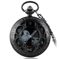 Wholesale-Antique Black Nightmare Before Christmas Theme Pocket Watch Vintage Steampunk Pingente Fob Necklace Gift