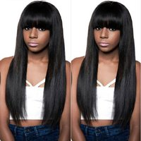 Wholesale Top Hair Bangs - Top Quality Long Straight Wig Simulation Human Hair Wigs Long Silky Straight Wigs With Full Bangs For Black Women In Stock