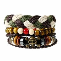 Wholesale Mens Multi Strand Leather Bracelets - Fashion Jewelry Leather Bracelets Mens Multi Strands Skull Head Alloy Leather Woven Beads Wrist band Vintage Casual Bracelets 3PCS Set