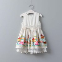 Wholesale Cartoon Print Dresses - Everweekend Girls Lace Party Dress Ruffles Stripes with Cartoon Print Spring Summer Bow Dress