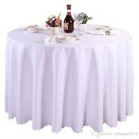 banket masaları dekorasyonları toptan satış-1 parça Beyaz Yuvarlak Polyester Düğün Masa Örtüleri Masa Örtüleri Masa Örtüsü Süslemeleri Ziyafet Ev Açık Yüksek Kalite