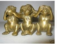 Exquis Intéressant Collectibles Brass See Speak Hear No Evil 3 Monkey Small Statue