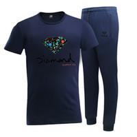Wholesale diamond supply shirts free shipping - D1222 Free shipping s-5xl new men Leisure Diamond Supply T-Shirt and long pants suit o-neck Elastic waist Tracksuits
