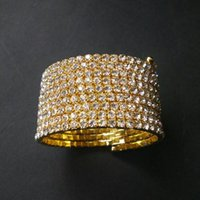 Hot Sale 9 linhas Crystal Rhinestone Spiral Bangle Bracelet Cuff Crossdresser Drag Jewelry Wholesale Gold Bangles para Mulheres