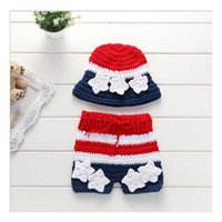 Wholesale Crochet Childrens Clothes - Baby Crochet Red White Blue 4th of July Patriotic Childrens Clothes With Headband Girls Outfit For Photography Props