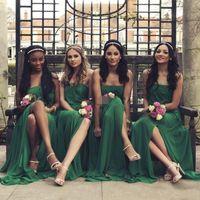 chiffon chão saia comprimento verde venda por atacado-2017 verde escuro a line vestidos de dama de honra strapless zipper sexy divisão império chiffon camadas saias assoalho-comprimento vestidos de casamento vestido de hóspedes