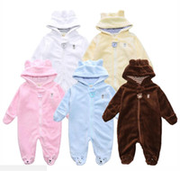 Wholesale Girls Size Outerwear - Newborn winter baby rompers coral fleece cotton padded infant baby girl Boy clothes thickening jumpsuits fashion outerwear