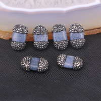 Wholesale Coral Connector Bead - 10pcs Blue Coral Connector Beads with Pave Rhinestone Druzy Jewelry, Gemstone Charm Beads For Jewelry Making