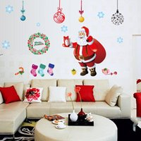 Décorations de Noël Autocollants Arbre de Noël Salon Chambre Amovible Transparent PVC Stickers Muraux Xmas Stickers Accueil décor mural