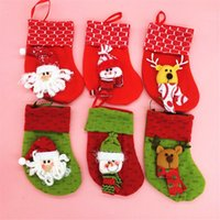 Christams Stockings New Year Candy Bag Stocking Décoration de Noël Santa Claus Socks Green Red Christmas Ornament
