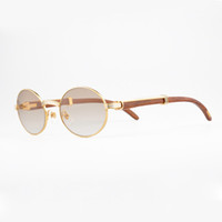 Wholesale Oval Vintage - luxury brand 18K Gold sunglasses metal frames real Wooden designer sunglasses brands for men vintage wood Glasses with Red box