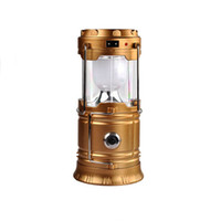 Wholesale Solar Powered Lanterns For Camping - Vintage Solar Panel Outdoor Light LED Camping Lights Lantern USB Charging+Solar Power Portable LED Lamp Flashlight for Climbing