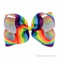 """Wholesale Large Baby Hair Flowers - 6"""" Girls Rainbow Bow Clips Baby Bubble Flower Ribbon Bowknot Hairpin Kids Large Barrette Hair Boutique Bows Children Hair Accessories KFJ42"""