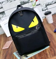Wholesale little backpacks for girls - New nylon and PU Little Monsters devil bag animal backpack fashion little monster pattern nylon backpack for girls