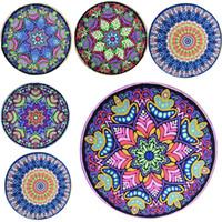 Wholesale Children Bedspreads - Bohemian Mandala Beach Tapestry Hippie Boho Throw Yoga Mat Round Beach Shawl Towel Tablecloth Sarongs Bedspread Outdoor Pincnic Pad