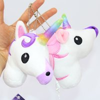 Wholesale Plush Soft Toys - Unicorn Plush toys Crystal Soft Stuffed Rainbow horse Key Pendant Kids gifts Cartoon Bag hanging accessories 2017 Hot Pink Purple 13*10cm
