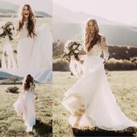 Wholesale T Length Wedding Dress Cheap - Cheap Bohemian Beach Lace Wedding Dresses With Sheer Long Sleeves Bateau Neck A Line Appliqued Chiffon Boho Country Bridal Gowns