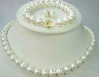 14k gp halskette großhandel-8-9mm natürliche Akoya-Zuchtperle 14K GP Halskette + Armband + Ohrringe gesetzt