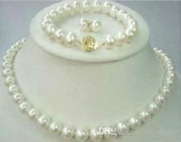 Wholesale Cultured Pearl Necklace Set - 8-9mm Natural Akoya Cultured Pearl 14K GP Necklace + Bracelet + Earrings set