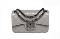 Wholesale Jelly Evening Bags - New women Ling chain Jelly package female fashion single shoulder cross body bag lady small evening bag black white light grey purple color