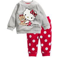 Wholesale Winter Pajama Baby - Wholesale- 2016 Hello Kitty Girls Clothing Sets Baby Boys Sleepwear Kids Long Sleeved Blouse+Pants Kid Pajama Sets Children's Pajamas C20