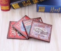 Wholesale Car Coasters Wholesale - Wholesale-LINKWELL Set of 4 10x10cm Rusted Old Car Garage Service Route 66 PU Leather Bar Coaster Table Cup Holder Drink Placemat Mat