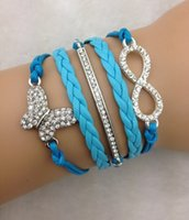 Wholesale Bracelet Butterfly Leather - Wholesale- 3pcs infinity bracelet, anchor bracelet,butterfly bracelet,leather bracelt,bracelet for christmas gift 3241 mini order 10$