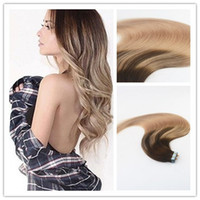 Wholesale double tape hair extensions pieces for sale - Balayage Color Top Grade High Quality Hot Selling Virgin Remy Hair Straight Seamless Human Hair PU Tape Hair Extension G Per Bundle