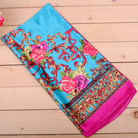 Wholesale Cheap Silk Peonies - 2017 new peony fashion women satin scarves wholesale cheap square sizes silk scarf charms international express