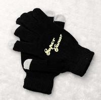 Wholesale Korean Fingerless Gloves - Wholesale- Kpop super junior printing black luminous gloves korean style touch screen winter gloves for men women unisex