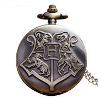 Wholesale Pocket Watch Fob Chain - 10 PCS Hogwarts Harry Potter Necklace Pocket Watch Vintage Pocket Watches Men Women Watch Chain Steampunk Fob Watch Retro Quartz Clock