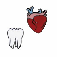 Wholesale funny heart cartoons - Cartoon Cute Organ Heart Tooth Metal Brooch Lapel Pins Button Pins Brooch Denim Jacket Pin Badge Funny Gift Fashion Jewelry