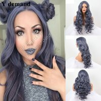 Wholesale Wig Gray Long - Long Curly Wig Dark Gray Blue Women's Gray Blue Hot Heat-Resistant Synthetic Lace Front Wig In Stock (Color: Blue)