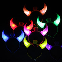 Wholesale Devil Horns Hairpin - Devil Horn LED Flash Light Emitting Hairpin Headwear Bow Hair Bands Hair Clasp Headband for New Year Christmas Party
