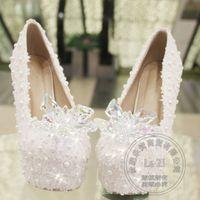 Wholesale Princess Diamond Platform Shoes - Women Cristal Shoes 2015 Goddess Platform Shoes Evening White Wedding Shoes Princess Thin Heel Cinderella Diamond Basic