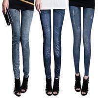 Wholesale Cheap Sexy Women Pants - Women Pants Sexy Leggings Free Style Women's Printed Leggings Jeans Cheap Ripped Denim Spandex Graffiti Fitness Legging