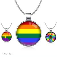 Mprainbow Gay Pride Rainbow Coração Shape Charm Necklace Lésbica LGBT Silver Glass Cabochon Chain Silver Collares