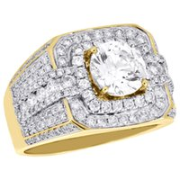 Wholesale Diamond Semi Ring - 10K Yellow Gold Men's Round Diamond Pinky Ring Solitaire Semi Mount Band 1.82 CT