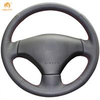Wholesale peugeot leather - Mewant Black Genuine Leather Car Steering Wheel Cover for Peugeot 206 2007-2009 Peugeot 207 Citroen C2