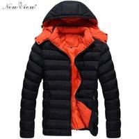 Wholesale Men Jacket Parkas - Wholesale- 2017 Men Jacket Fashion Jacket Down Polyester Hoodies Coat Men Parka Outerwear Thick Warm Coat Hooded Men Jacket Winter