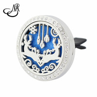 Wholesale Animal Car Magnets - Newest Silver Crystal Christmas Deer Diffuser Locket 30mm Magnet Stainless Steel Essential Oil Aromatherapy Perfume Clip car Locket Jewelry