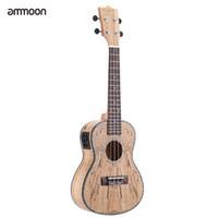 "Wholesale rare shells - Wholesale- ammoon 24"" Deadwood(Rare Material)Ukulele Hawaii Guitar with LED EQ Cowry Shell Brims OX Bone Saddle 4 Strings Instrument"