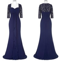 Wholesale Elegant Navy Chiffon Gowns - Custom Made Royal Blue Chiffon Lace Mother of the Bridal Dresses Square Half Sleeve Real Photos New Elegant Long Evening Gowns Actual Image