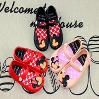 Wholesale Summer Sandal Wholesale - Infant Minnie Mouse Sandal Shoes Baby Girls Boys Summer Cute Cartoon Beach Shoes Toddler Cow Muscle Soft Leather Infantil Sandalia F394
