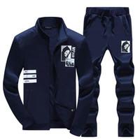 vestes de basketball de baseball achat en gros de-Vente chaude Printemps nouvelle marée ensemble veste à manches longues costume de sport masculin base-ball décontracté costume de sport masculin hommes MT005 survêtements