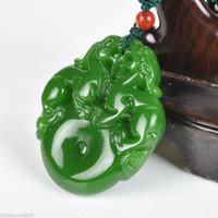 ingrosso ciondolo fatta a mano di giada-Collana a pendente cinese fatta a mano al 100% naturale di nefrite Jasper Jade Pixiu Peace