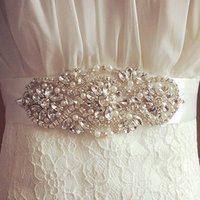 Wholesale Faux Pearl Belt - Bridal Sash Wedding Princess Rhinestone Faux Pearls Belt Girl Flower Bridesmaid Dress Sash Wedding Accessories Multi Color Ribbon